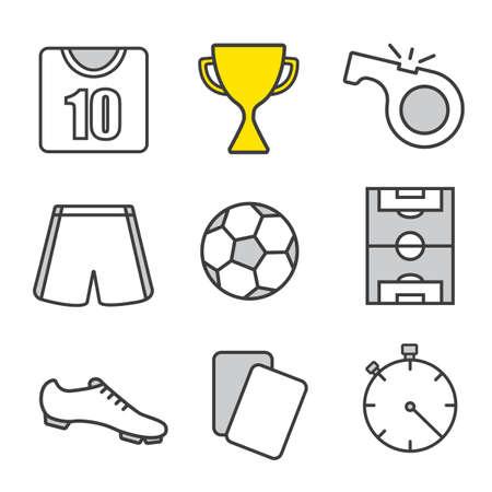 arbitros: Iconos lineales de fútbol. El fútbol kit jugador, la copa de ganador, silbato y las tarjetas del árbitro, bola, campo, cronómetro. Linea fina. Ilustraciones de vectores aislados Vectores
