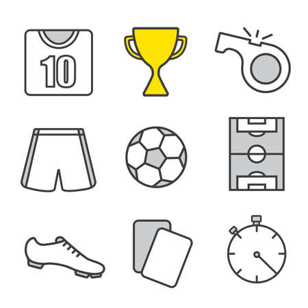 arbitros: Soccer linear icons set. Football player kit, winners cup, referees whistle and cards, ball, field, stopwatch. Thin line. Isolated vector illustrations