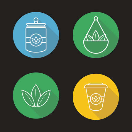 loose: Tea shop linear icons set. Tea container, loose tea leaves in jar and takeaway paper cup. Thin line. Isolated vector illustrations