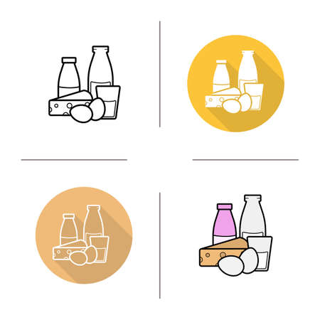 dairy products: Dairy products icon. Flat design, linear and color styles. Bottle and glass of milk, cheese and eggs. Milk products isolated vector illustrations Illustration