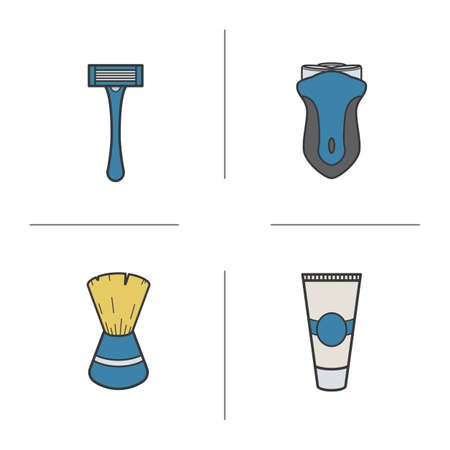shaving brush: Shaving accessories color icons set. Electric shaver, razor, shaving brush and aftershave cream. Vector isolated illustrations