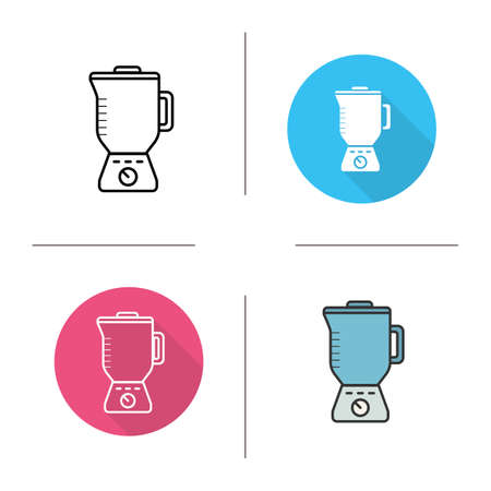 food processor: Blender icon. Flat design, linear and color styles. Food processor isolated vector illustrations