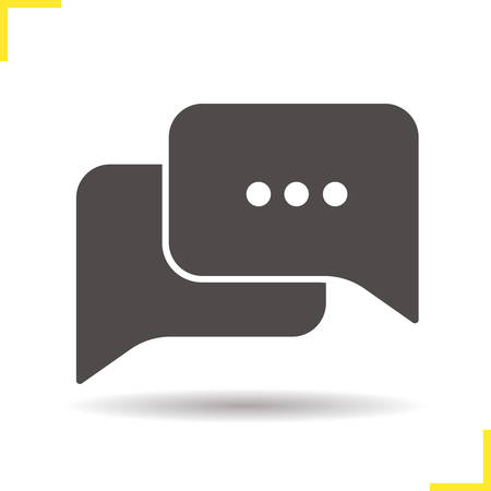 chat box: Chat bubbles icon. Drop shadow discussion silhouette symbol. Chat box vector isolated illustration