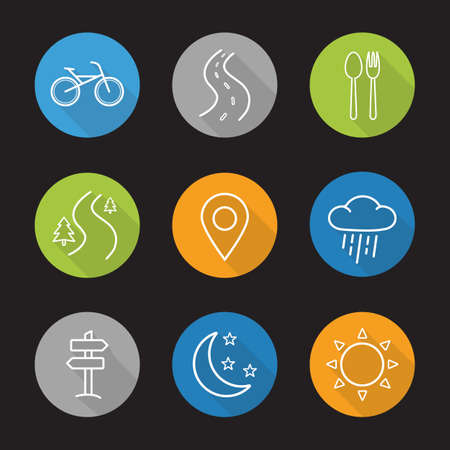 autobahn: Camping flat linear long shadow icons set. Bike, highway, fork and spoon, forest road, pinpoint, rain, signpost, moon with stars and sun. Vector line symbols Illustration