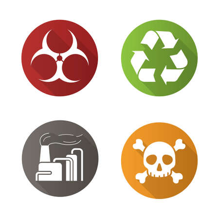industry icons: Chemical industry flat design long shadow icons set. Biohazard and recycle symbols, industrial pollution and skull with crossbones icons. Vector symbols Illustration