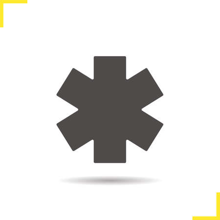 star of life: Star of life icon. Drop shadow ambulance emblem silhouette symbol. Medical symbol. Vector isolated illustration