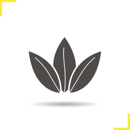 Loose tea leaves icon. Drop shadow silhouette symbol. Vector isolated illustration Illustration