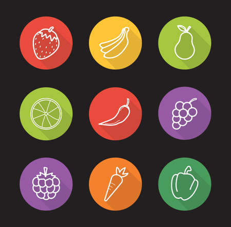 bell pepper: Fruit and vegetables store flat linear long shadow icons set. Strawberry, bananas, pear, orange, hot pepper, grapes, raspberry, carrot and bell pepper. Vector line symbols