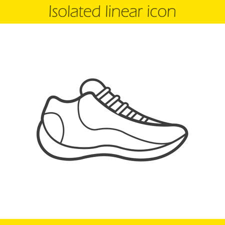 Sneaker linear icon. Sport footwear thin line illustration. Running shoe contour symbol. Vector isolated outline drawing