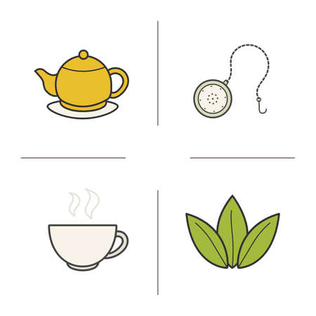 Tea color icons set. Steaming cup, teapot on plate, loose tea leaves and ball infuser. Vector isolated illustrations Illustration