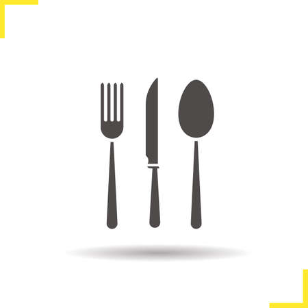 table knife: Cutlery set icon. Drop shadow fork, table knife and spoon silhouette symbol. Kitchen appliances. Cooking instruments. Vector isolated illustration