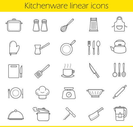Küchen lineare Symbole gesetzt. Küchengeräte und Geräte dünne Linie Kontur Symbole. Haushaltskochgerät. Tee und Kaffee Artikel. Restaurant-Köche Ausrüstung. Isolierte Vektor-Illustrationen