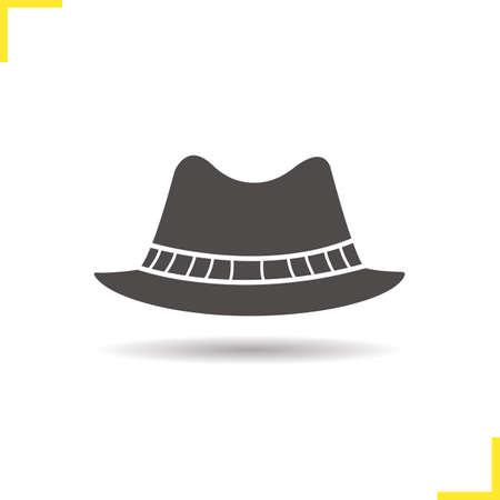 Chapeau icône pour hommes. Ombre portée symbole homburg silhouette. formelle chapeau de vêtements pour hommes. Vector illustration isolé Banque d'images - 62328398