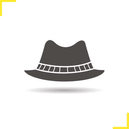 Mens hat icon. Drop shadow homburg silhouette symbol. Mens formal attire hat. Vector isolated illustration