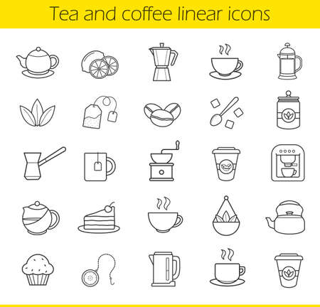 electric kettle: Tea and coffee linear icons set. Moka pot, espresso machine, steaming teacup, electric kettle, coffee to go paper cup, muffin, turkish cezve. Thin line contour symbols. Isolated vector illustrations