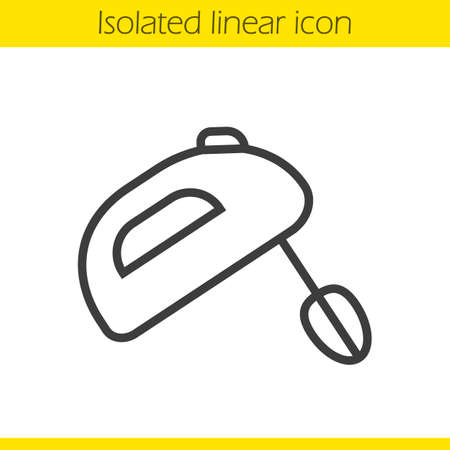 handheld device: Hand mixer linear icon. Thin line illustration. Contour symbol. Vector isolated outline drawing