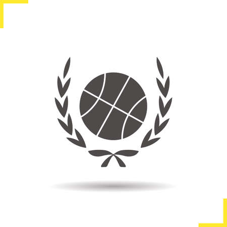 wraith: Basketball ball in laurel wraith icon. Drop shadow silhouette symbol. Basketball championship. Vector isolated illustration