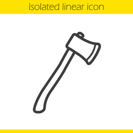 wood cutter: Ax linear icon. Camping equipment. Wood cutter thin line illustration. Hatchet contour symbol. Vector isolated outline drawing
