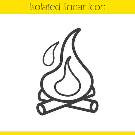 firewood: Campfire linear icon. Thin line illustration. Bonfire wth firewood contour symbol. Vector isolated outline drawing Illustration