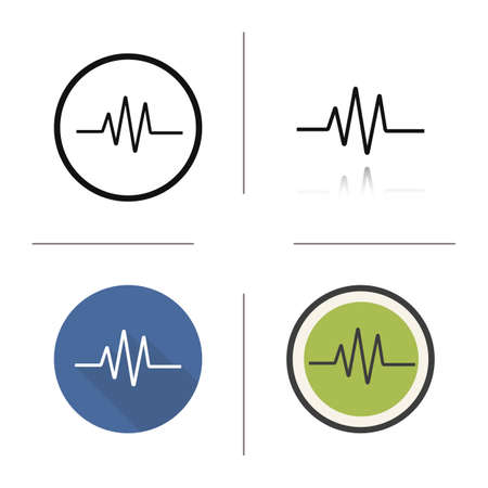 heart monitor: Cardiogram icon. Flat design, linear and color styles. Heart monitor. Ecg isolated vector illustrations