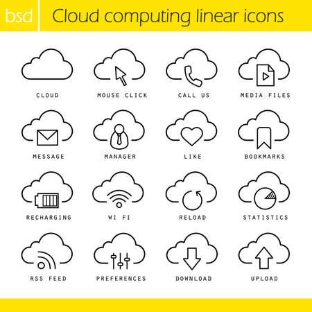 recharging: Cloud computing linear icons set. Mouse click, bookmarks and statistics symbols. Recharging, wi fi and upload signs. Thin line contour symbols. Isolated vector illustrations