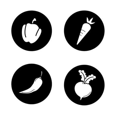 bell pepper: Vegetables black icons set. Bell pepper, carrot, chilli and beet. Vector white illustrations in circles Illustration