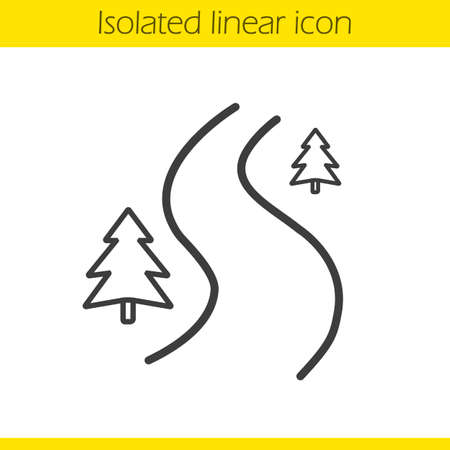country road: Forest road linear icon. Thin line illustration. Winding country road contour symbol. Vector isolated outline drawing Illustration