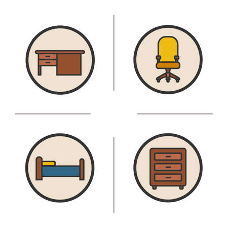 computer chair: Furniture color icons set. Writing desk, computer chair, bed and dresser. Interior items. Vector isolated illustrations