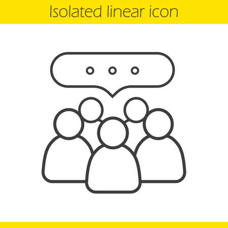 dessin au trait: Conference linear icon. Business teamwork. Company discussion thin line illustration. Meeting contour symbol. Vector isolated outline drawing Illustration