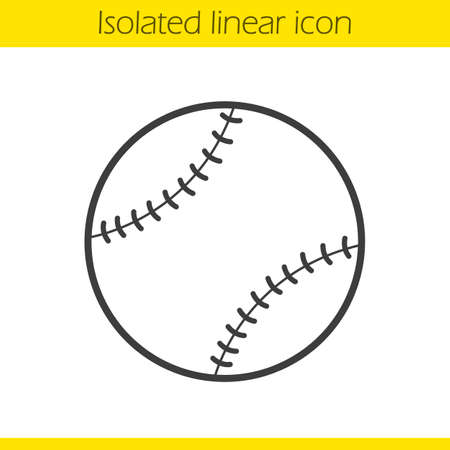 pitching: Baseball ball linear icon. Sport equipment. Softball thin line illustration. Contour symbol. Vector isolated outline drawing