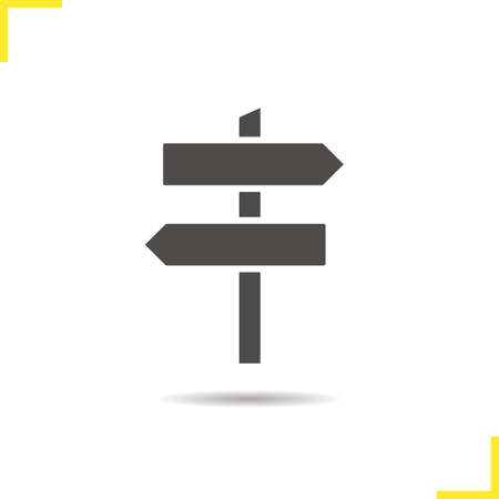 guidepost: Signpost icon. Drop shadow wooden way direction silhouette symbol. Guidepost. Vector isolated illustration