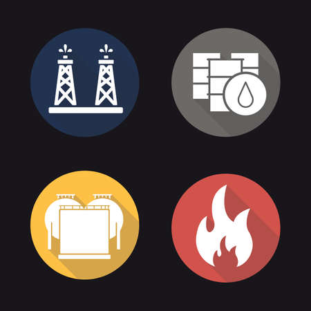 barrel bomb: Oil industry flat design long shadow icons set. Oil rig, barrels and storage. Flammable sign. Vector symbols Illustration