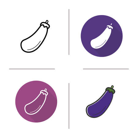 aubergine: Eggplant icon. Flat design, linear and color styles. Aubergine isolated vector illustrations