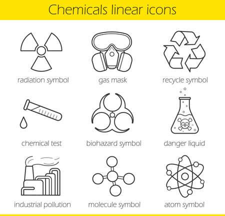 danger of radiation: Laboratory equipment. Chemical industy. Gas mask, recycle symbol, chemical test tube, poison danger, factory pollution. Biohazard, radiation, atom and molecule symbols.