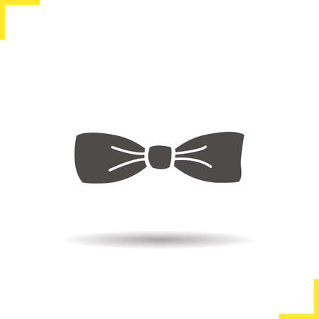butterfly bow: Bow tie icon. Drop shadow tuxedo butterfly tie silhouette symbol. Mens classic fashion accessory. Vector isolated illustration Illustration