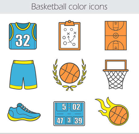 board shorts: Basketball color icons set. T-shirt, shorts, burning ball, field, score board, sneaker, game plan, hoop and ball in laurel wreath. Vector isolated illustrations Illustration