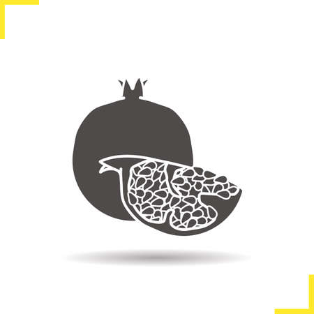 halved: Pomegranate icon. Drop shadow silhouette symbol. Garnet fruit vector isolated illustration