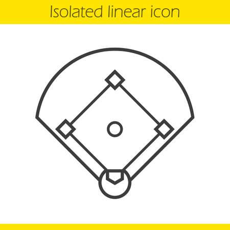 honkbalveld lineaire icoon. Sportveld spel dunne lijn illustratie. Baseball contour symbool. Vector geïsoleerd overzichtstekening