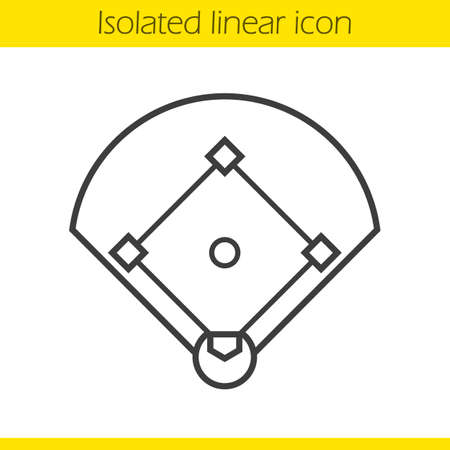 Baseball field linear icon. Sport game field thin line illustration. Baseball contour symbol. Vector isolated outline drawing