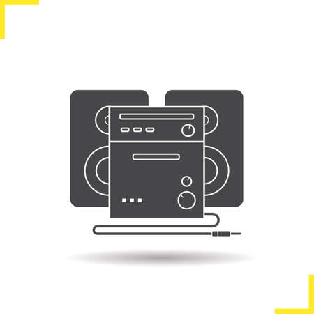 audio equipment: Stereo system icon. Drop shadow sound system silhouette symbol. Modern audio equipment. Vector isolated illustration Illustration