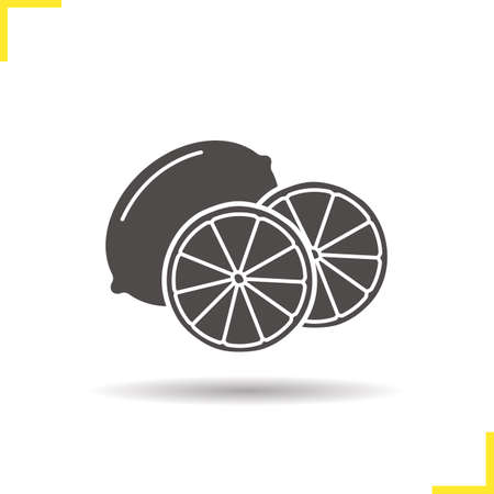 cutted: Lemon icon. Drop shadow orange silhouette symbol. Cutted lemon. Vector isolated illustration