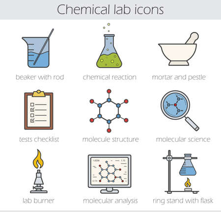 ring stand: Chemical lab color icons set. Beaker with rod, chemical reaction, mortar and pestle. Tests checklist, molecule structure, lab burner, molecular science, ring stand. Vector isolated illustrations Illustration