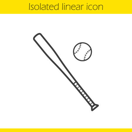 pitching: Baseball bat and ball linear icon. Softball thin line illustration. Baseball players equipment contour symbol. Vector isolated outline drawing