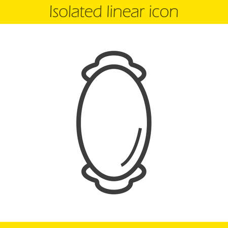 decorative item: Wall mirror linear icon. House decorative furniture item thin line illustration. Oval mirror contour symbol. Vector isolated outline drawing