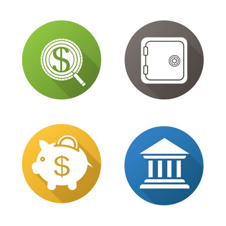 safe deposit box: Banking and finance flat design long shadow icons set. Investment search, safe deposit box, piggybank and bank building. Vector symbols
