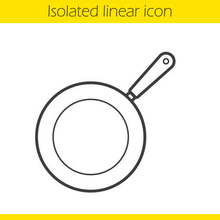 Frying pan linear icon. Kitchen utensil. Restaurant cooking equipment thin line illustration. Pan contour symbol. Vector isolated outline drawing Vetores
