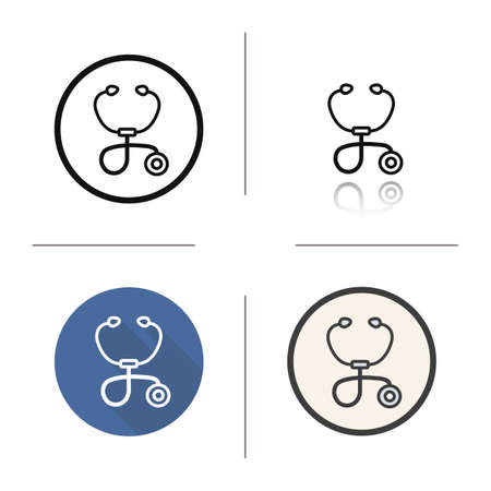 auscultation: Stethoscope icon. Drop shadow silhouette symbol. Auscultation tool. Vector isolated illustration