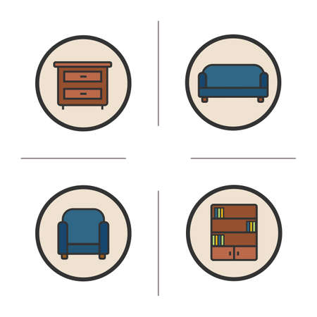 bookcase: Furniture icons set. Chest of drawers, couch, armchair and bookcase illustrations. Interior items isolated vector chalkboard drawings