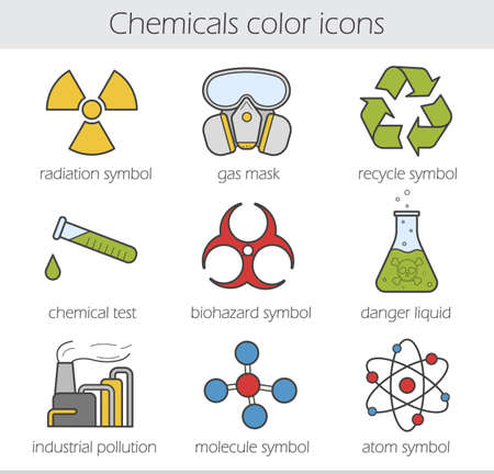 poison symbol: Chemical industry color icons set. Gas mask, recycle symbol, chemical test tube, poison danger, factory pollution. Biohazard, radiation, atom and molecule symbols. Vector isolated illustrations Illustration