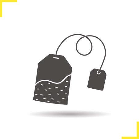 ceylon: Tea bag icon. Drop shadow silhouette symbol. Ceylon tea leaves bag. Vector isolated illustration